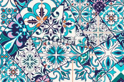 Nálepka Luxusní dekorativní pozadí. Mozaika mozaikový vzor pro design a módu. Portugalské dlaždice, Azulejo, marocké ozdoby