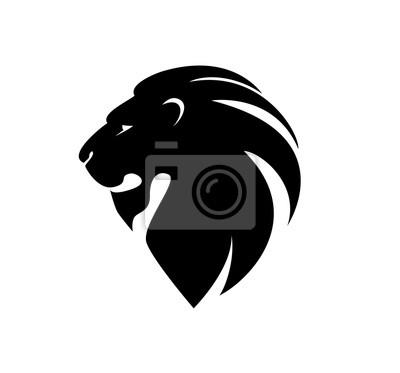 Nálepka lví hlavy v profilu. šablona Logo