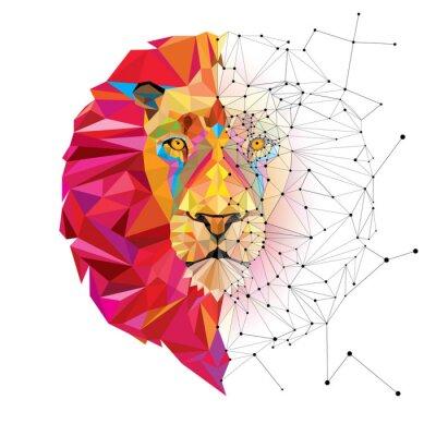 Nálepka Lví hlavy ve geometrickým vzorem s Star Line vektoru