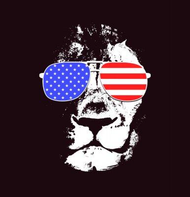 Nálepka Lví hlavy. Vector pozadí. Plakát