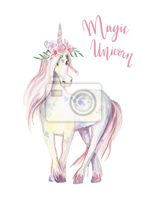 Magic Unicorn. Akvarel ilustrace, krásné izolované poníka