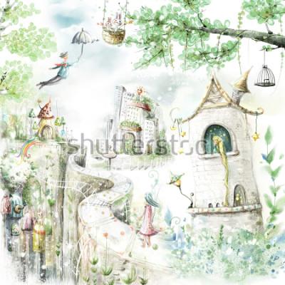 Nálepka magické lesní stezky a pohádkové postavy