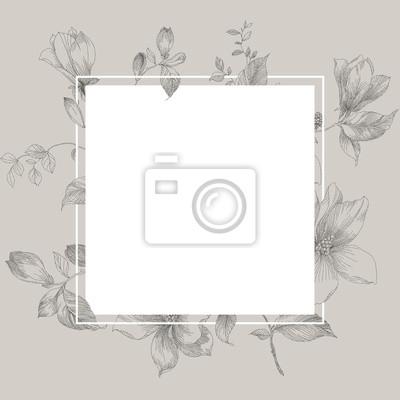 Magnolia pattern, line floral ornament. Wedding ornament concept. Floral poster, invite. Decorative greeting card, invitation design background