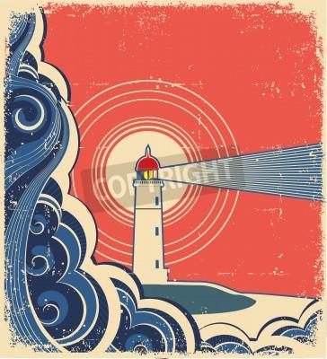 Nálepka Maják s modrým mořem.