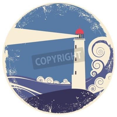 Nálepka maják v moři landscape.vintage ilustrace na starý papír