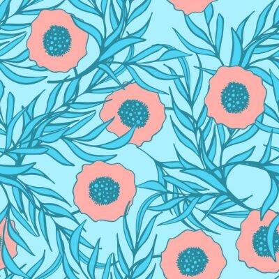 Nálepka Mák květiny bezproblémové vzor vektor. Ručně malovaná doodle inkoust květinovým textilie tisku. Coral rudého máku a modrá větev opustí zemního design.