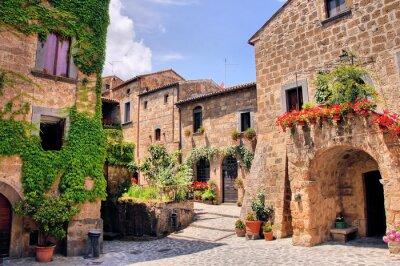Nálepka Malebné roh malebné kopce města v Itálii