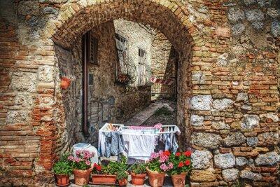 Nálepka malebném koutu v San Gimignano