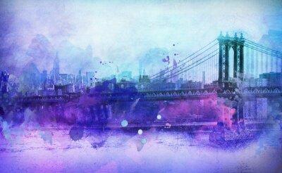 Nálepka Malířské Pohled na NYC Manhattan most a řeku