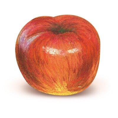 Nálepka Maloval červené jablko s ořezovou cestou