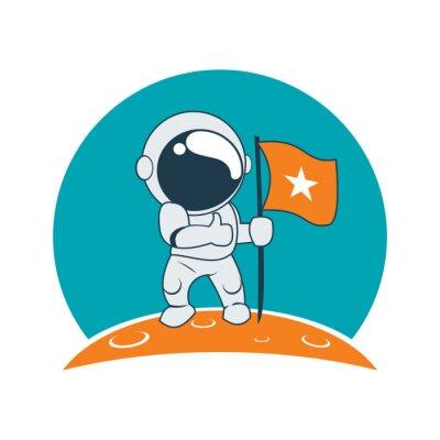 Nálepka Malý Astronaut Úspěch na Měsíci mise Cartoon