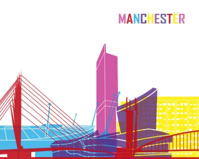 Nálepka Manchester panorama pop