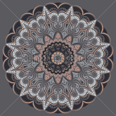 Nálepka Mandala - in gray colors of different shades. Interior in loft style, brutal style. Geometric style, strict lines, interesting fashionable design.