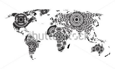 Nálepka Mandala mapa světa
