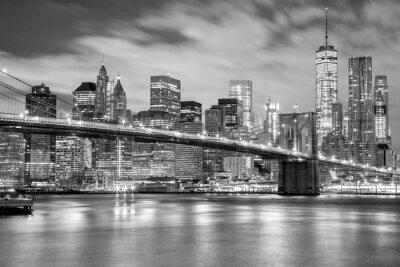 Nálepka Manhattan a Brooklyn Bridge černé a bílé, New York