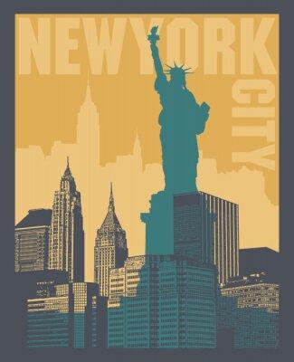 Nálepka Manhattan, New York, silueta ilustrace