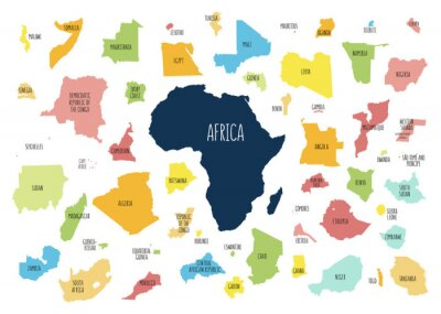 Nálepka Map of Africa with separated countries.