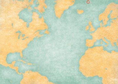 Nálepka Map of North Atlantic Ocean - Jan Mayen