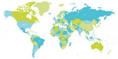 Nálepka Map of World in shades of green and blue. High detail political map with country names. Vector illustration