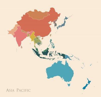 Nálepka Mapa Asie a Tichého oceánu