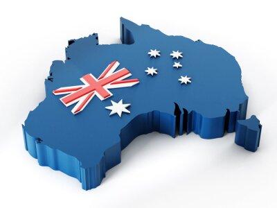 Nálepka Mapa Austrálie a vlajky