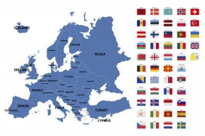 Nálepka Mapa Evropy a vlajky