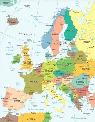 Nálepka Mapa Evropy - velmi podrobné vektorové ilustrace.