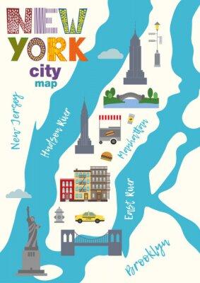 Nálepka Mapa města Manhattan v New Yorku