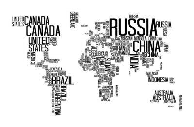 Nálepka Mapa s textem název země, World Map Letter, World Map Typografie