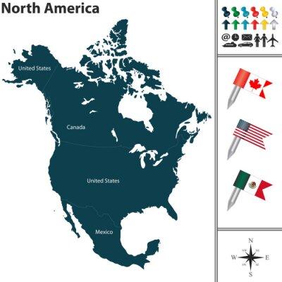 Nálepka Mapa Severní Ameriky