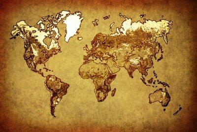 Nálepka Mapa starověký svět na starý papír