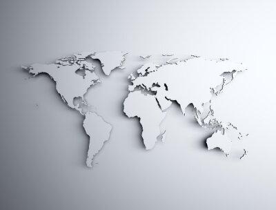 Nálepka Mapa světa 3D