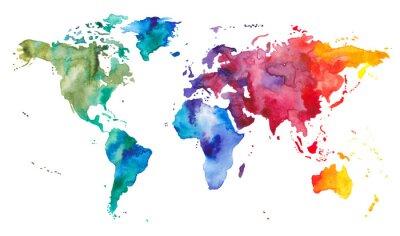 Nálepka Mapa světa akvarelů