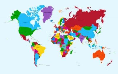 Nálepka Mapa světa, barevné země atlas EPS10 vektorový soubor.