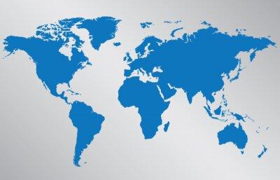 Nálepka Mapa světa ilustrace na šedém pozadí