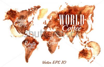 Nálepka Mapa světa kávy nalít kávu s nápisem arabica, robusta, míchat s postříkání a bloty vytisknout pohár.