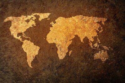 Nálepka mapa světa na pozadí grunge