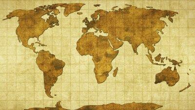 Nálepka Mapa světa na starý papír