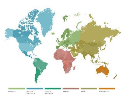 Nálepka Mapa světa s kontinentem v různých barvách