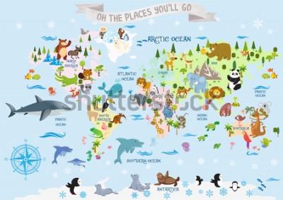 Nálepka Mapa světa se zvířaty / Ach, místa, kam půjdete