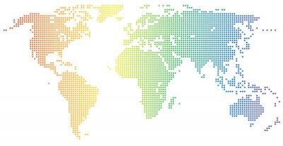 Nálepka Mapa světa - tečkovaný v duhových barvách
