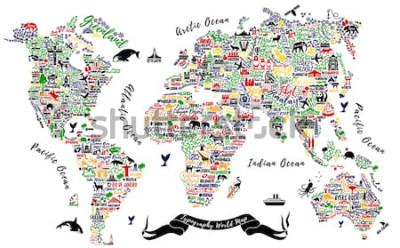 Nálepka Mapa světa typografie. Cestovní plakát s městy a památky. Inspirativní vektorové ilustrace.