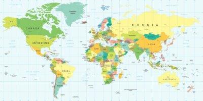 Nálepka Mapa světa - velmi podrobné vektorové ilustrace.