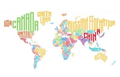 Nálepka Mapa světa z názvů typografických zemí