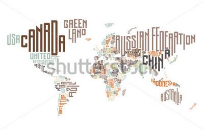 Nálepka Mapa světa z názvů typografických zemí. Vektorové ilustrace.
