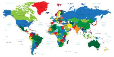 Nálepka Mapa světa-země