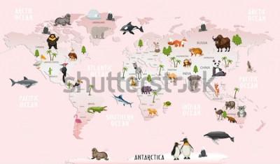 Nálepka mapa světa zvířata pro dětský pokoj tapety