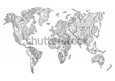 Nálepka mapa světa zvíře divoký volně žijících živočichů květina květinový výkres design vektorové ilustrace ručně kreslenou