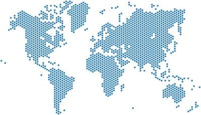 Nálepka mapa tečky světa na bílém pozadí, vektorové ilustrace.