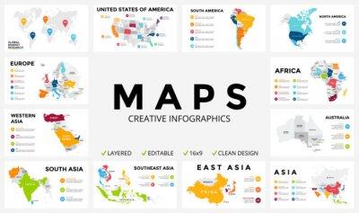 Nálepka mapa Vector infographic. Slide prezentace. Globální obchodní marketingový koncept. Barva země. Světové údajů doprava geografii. Ekonomická statistika šablona. Svět, Americe, Africe, Evropě, Asii